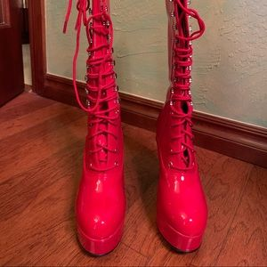 Funtasma Shoes - Knee height red heeled boots, lace up